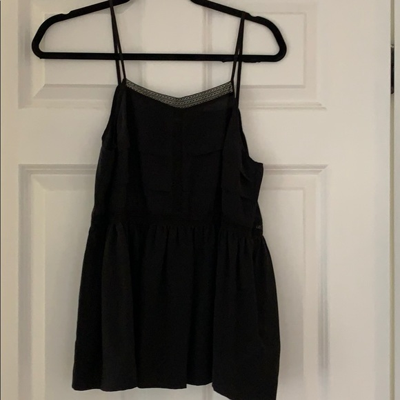 Madewell black silk lace cami